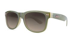 Sunglasses with Dark Green and Dessert Sand Frames with Polarized Amber Gradient Lenses, Threequarter