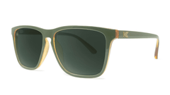 Sunglasses with Army Green Frames and Polarized Aviator Green Lenses, Threequarter