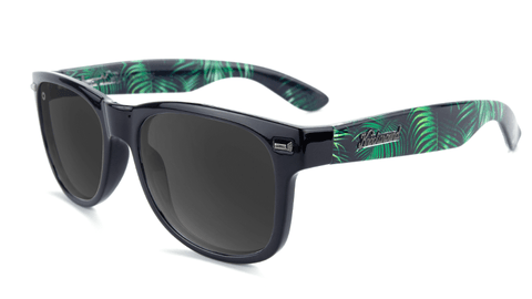 Sunglasses with Glossy Black Fronts, Heart of Palms arms, and Polarized Smoke Lenses, Flyover