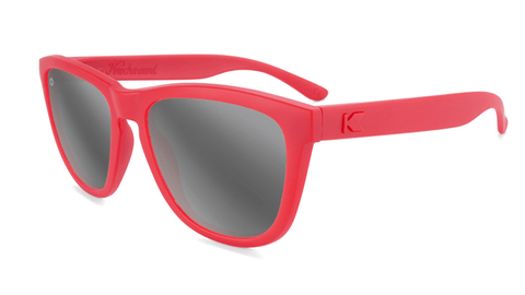 Sunglasses with Red frame and Polarized Silver Smoke Lenses, Flyover
