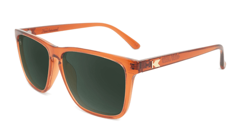 Sunglasses with Orange Frames and Polarized Aviator Green Lenses, Flyover