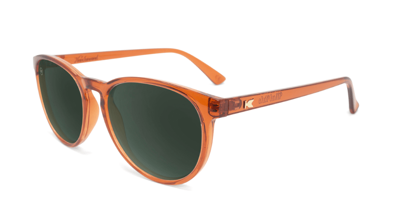 Sunglasses with Orange Frames and Polarized Aviator Green Lenses, Flyoer