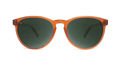 Sunglasses with Orange Frames and Polarized Aviator Green Lenses, Back