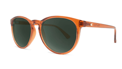 Sunglasses with Orange Frames and Polarized Aviator Green Lenses, Threequarter