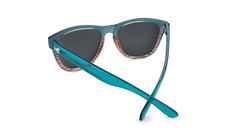 Sunglasses with Turquoise and Coral Frame and Polarized Black Smoke Lenses, Back