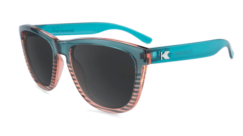 Sunglasses with Turquoise and Coral Frame and Polarized Black Smoke Lenses, Flyover
