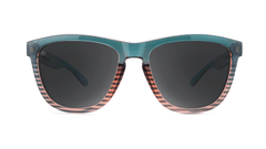 Sunglasses with Turquoise and Coral Frame and Polarized Black Smoke Lenses, Front