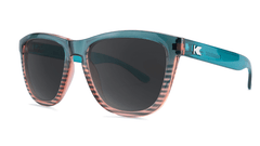 Sunglasses with Turquoise and Coral Frame and Polarized Black Smoke Lenses, Threequarter
