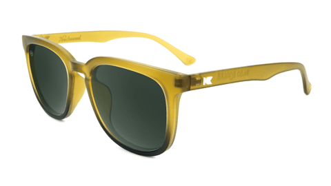 Sunglasses with Frosted Amber Fade Frames and Polarized Aviator Green Lenses, Flyover