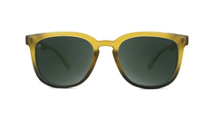 Sunglasses with Frosted Amber Fade Frames and Polarized Aviator Green Lenses, Front