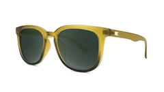 Sunglasses with Frosted Amber Fade Frames and Polarized Aviator Green Lenses, Threequarter