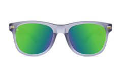 Fort Knocks Sunglasses with Frosted Grey Frames and Green Moonshine Mirrored Lenses, Front