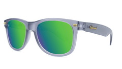 Fort Knocks Sunglasses with Frosted Grey Frames and Green Moonshine Mirrored Lenses, Threequarter