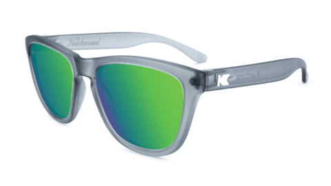 Premiums Sunglasses with Frosted Grey Frames and Green Moonshine Mirrored Lenses, Flyover