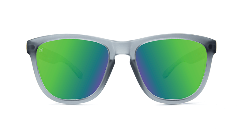 4cfd8fac31 ... Premiums Sunglasses with Frosted Grey Frames and Green Moonshine  Mirrored Lenses