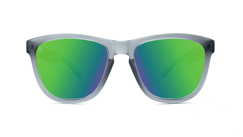 Premiums Sunglasses with Frosted Grey Frames and Green Moonshine Mirrored Lenses, Back