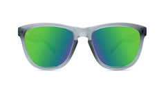 Premiums Sunglasses with Frosted Grey Frames and Green Moonshine Mirrored Lenses, Front