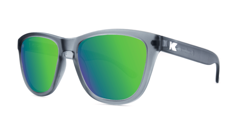 Premiums Sunglasses with Frosted Grey Frames and Green Moonshine Mirrored Lenses, Threequarter