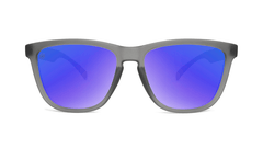 Sunglasses with Frosted Grey Frame and Polarized Blue Moonshine Lenses, Front