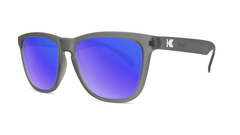 Sunglasses with Frosted Grey Frame and Polarized Blue Moonshine Lenses, Threequarter