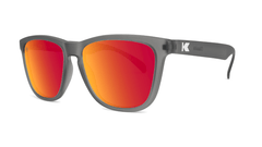Sunglasses with Frosted Grey Frame and Polarized Red Sunset Lenses, Threequarter