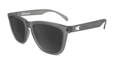 Sunglasses with Frosted Grey Frame and Polarized Black Smoke Lenses, Flyover