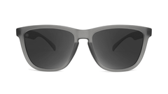Sunglasses with Frosted Grey Frame and Polarized Black Smoke Lenses, Front