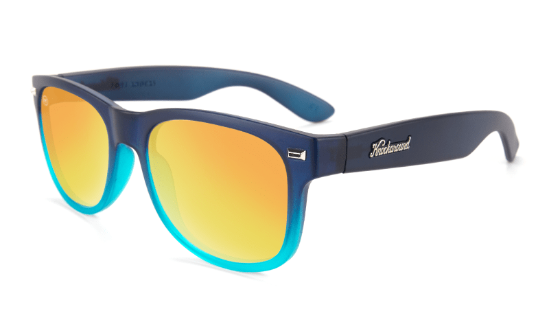 Sunglasses with Frosted Navy Fade Frames and Polarized Sunset Lenses, Flyover