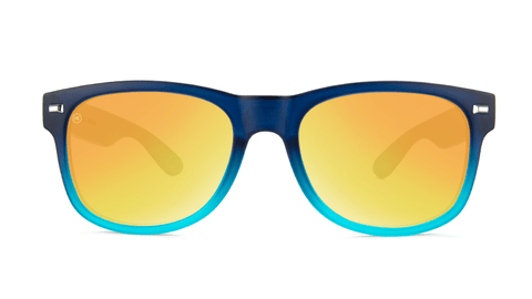 Sunglasses with Frosted Navy Fade Frames and Polarized Sunset Lenses, Back