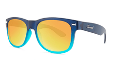 Sunglasses with Frosted Navy Fade Frames and Polarized Sunset Lenses, Threequarter