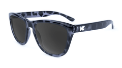 Premiums Sunglasses with Glossy Black Tortoise Shell Frames and Black Smoke Lenses, Flyover