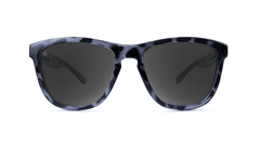 Premiums Sunglasses with Glossy Black Tortoise Shell Frames and Black Smoke Lenses, Front
