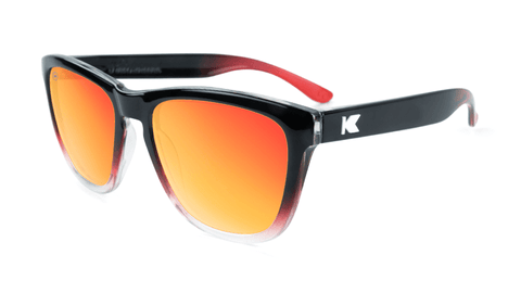Premiums Sunglasses with Glossy Black, Red and Clear Frame with Red Sunset Lenses, Flyover