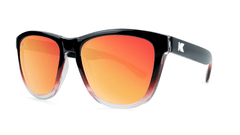 Premiums Sunglasses with Glossy Black, Red and Clear Frame with Red Sunset Lenses, Three Quarter