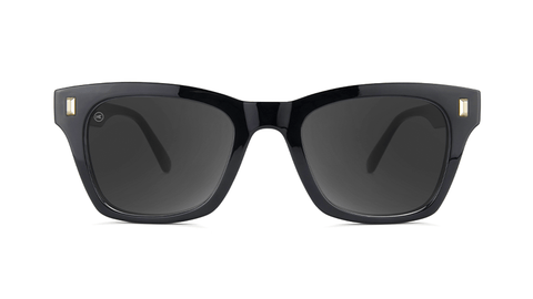 Sunglasses with Glossy Black Frames and Polarized Smoke Lenses, Back