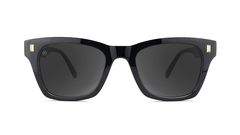 Sunglasses with Glossy Black Frames and Polarized Smoke Lenses, Front