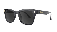 Sunglasses with Glossy Black Frames and Polarized Smoke Lenses, Threequarter
