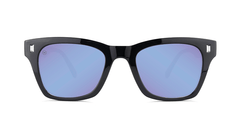 Sunglasses with Glossy Black Frames and Polarized Snow Opal Lenses, Front