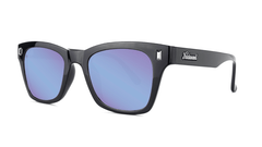 Sunglasses with Glossy Black Frames and Polarized Snow Opal Lenses, Threequarter