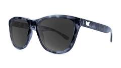 Premiums Sunglasses with Glossy Black Tortoise Shell Frames and Black Smoke Lenses, ThreeQuarter