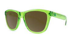 Knockaround Sunglasses Green Agave with Amber Lenses, Threequarter