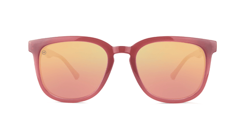 Sunglasses with Glossy Sangria Frames and Polarized Rose Gold Lenses, Back