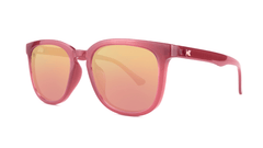 Sunglasses with Glossy Sangria Frames and Polarized Rose Gold Lenses, Threequarter