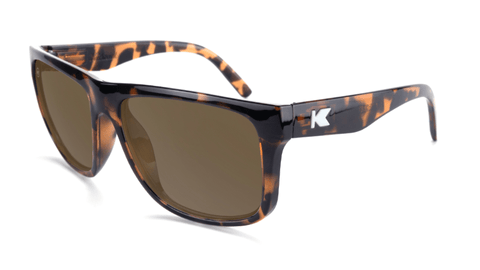 Sunglasses with Glossy Tortoise Shell Frame and Polarized Amber Lenses, Flyover