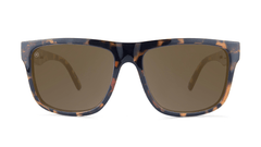 Sunglasses with Glossy Tortoise Shell Frame and Polarized Amber Lenses, Front
