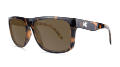 Sunglasses with Glossy Tortoise Shell Frame and Polarized Amber Lenses, Threequarter
