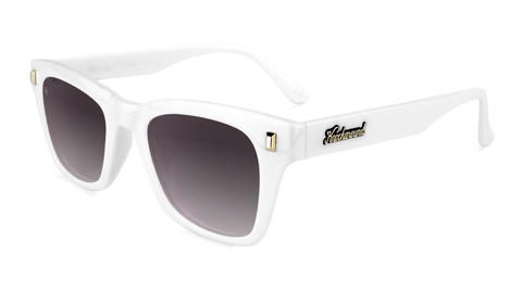 Sunglasses with Glossy White Frames and Polarized Smoke Gradient Lenses, Flyover