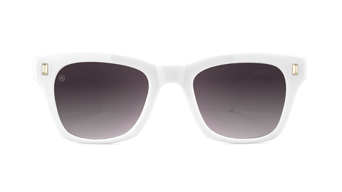 Sunglasses with Glossy White Frames and Polarized Smoke Gradient Lenses, Back