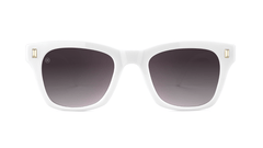 Sunglasses with Glossy White Frames and Polarized Smoke Gradient Lenses, Front