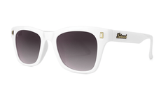 Sunglasses with Glossy White Frames and Polarized Smoke Gradient Lenses, Threequarter